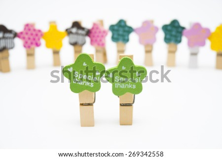 Colourful wood paperclips with Social Media and Connection Concept - stock photo