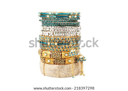Colourfull Indian Bangles on white background - stock photo