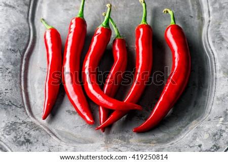 colseup Heap Of Ripe Big fresh Red Peppers At A Street Market In Istanbul, Turkey. Carsamba Fatih Pazari (Bazaar) - stock photo