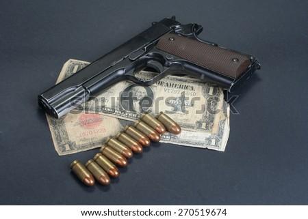 colt goverment M1911 on black background - stock photo