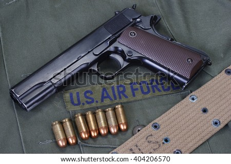 colt government M1911 with us air force uniform - stock photo