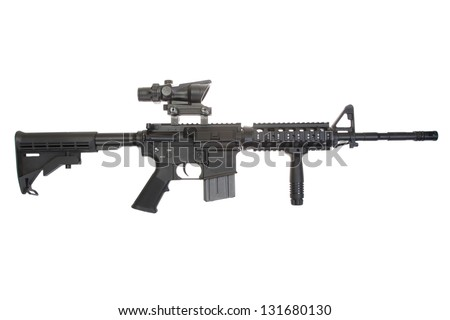 Colt M4A1 isolated on a white background - stock photo