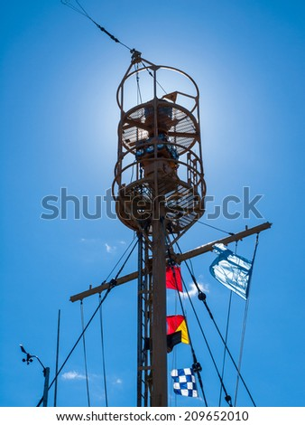 Columbia Lightship Main Light with Nautical Flags Hanging with Sunshine - stock photo