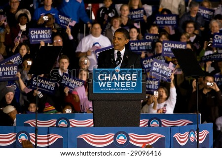 COLUMBIA, MO - OCTOBER 30: Then-Senator Barack Obama speaks at a campaign rally on the campus of the University of Missouri-Columbia on October 30, 2008.