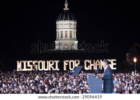 COLUMBIA, MO - OCTOBER 30: Then-Senator Barack Obama speaks at a campaign rally on the campus of the University of Missouri-Columbia on October 30, 2008. - stock photo
