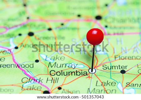 Columbia Pinned On A Map Of South Carolina Usa