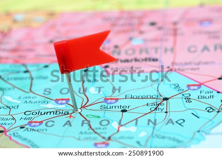 Columbia pinned on a map of USA  - stock photo