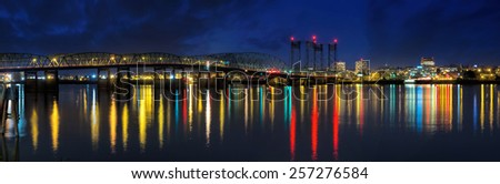 Columbia River Crossing Interstate 5 Bridge from Portland Oregon to Vancouver Washington Skyline View at Night Panorama - stock photo