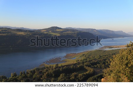 Columbia River Gorge - A view of the Columbia River Gorge from Crown Point, a promontory located along the Historic Columbia River Highway, Oregon. - stock photo