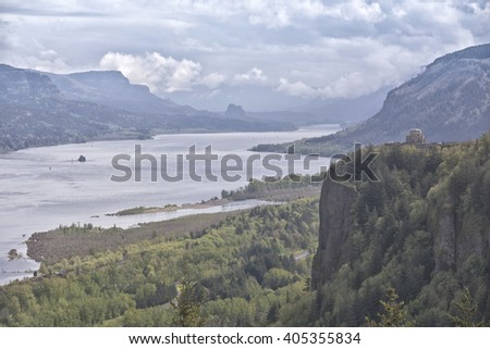 Columbia River Gorge and Vista house Landscape Oregon. - stock photo