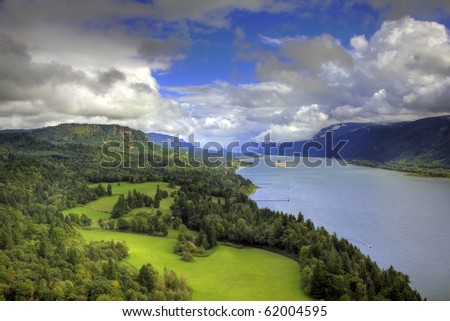 Columbia River Gorge capture from the cape on the Washington side of the gorge - stock photo