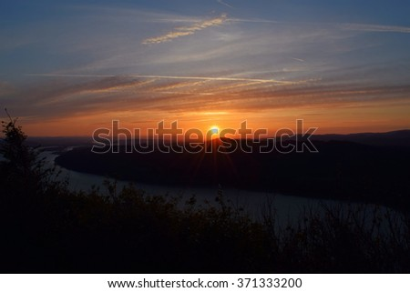Columbia River Gorge Sunset - stock photo