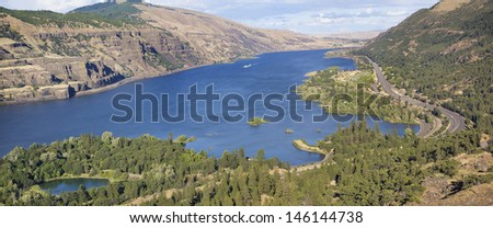 Columbia River Gorge View of Oregon and Washington State from Rowena Crest Panorama - stock photo