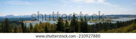 Columbia River panorama, Astoria, Oregon - stock photo