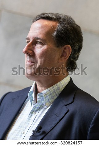 "Columbia, S.C. - September 26, 2015: Presidential candidate Rick Santorum spoke to a small but enthusiastic crowd at his ""Marriage God's Way"" rally at the Statehouse."