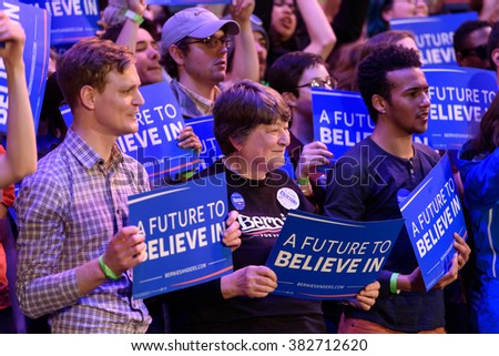 Columbia, South Carolina - February 26, 2016: Bernie Sanders' volunteers and supporters stand in solidarity with Bernie Sanders during a rally held at the Township Auditorium