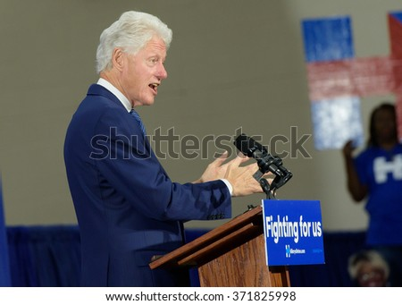 Columbia, South Carolina. - February 3, 2016: Former President Bill Clinton(42nd) holds a presidential rally, standing in for Hillary Clinton(D), at HBCU Allen University's Gymnasium.  - stock photo