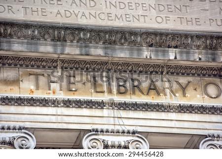 Columbia University Library in New York facade - stock photo