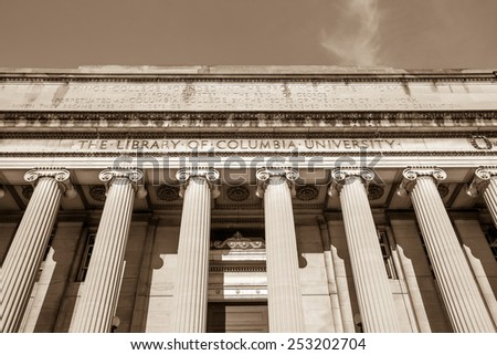 Columbia University of New York in winter sepia - stock photo