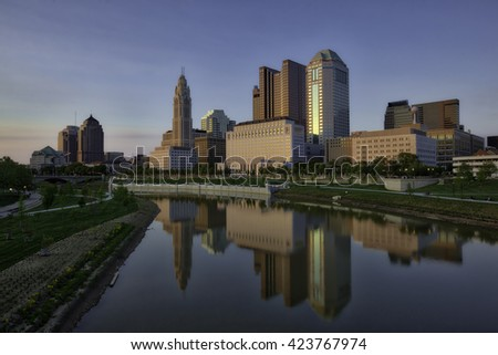 Columbus, Ohio along the Scioto River - stock photo