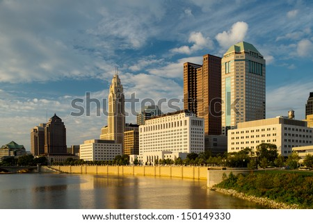 Columbus Ohio at sunset - stock photo