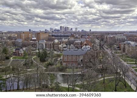 Columbus, Ohio beyond The Ohio State University - stock photo