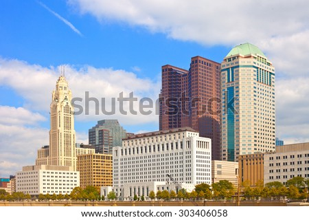 Columbus Ohio, downtown buildings on a sunny day