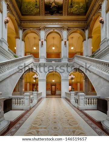 COLUMBUS, OHIO - JULY 8: Lobby and staircase in the Senate Building at Capitol Square on July 8, 2013 in Columbus, Ohio
