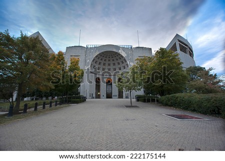 "COLUMBUS, OHIO-OCTOBER 5, 2014:  The Ohio State University is home to the Buckeyes who play their home football games at Ohio Stadium, also known at ""The Shoe"".  The stadium first opened in 1922. - stock photo"