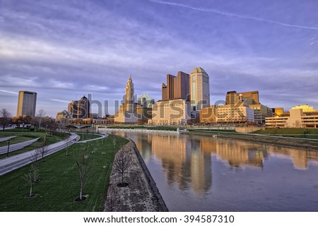Columbus, Ohio reflected in the Scioto river - stock photo