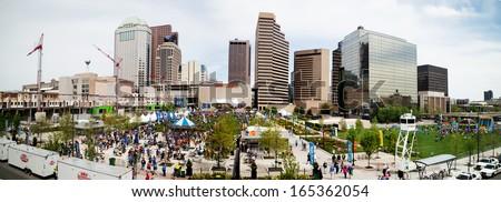 COLUMBUS, OHIO/USA - MAY FOURTH: Cap City Half Marathon shown on May 4th, 2013 in Columbus, Ohio - stock photo