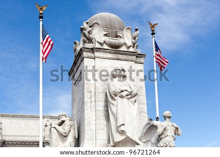 Columbus statue carved by Lorado Taft in 1911 in front of Union Station Washington DC. He died in 1936 - stock photo