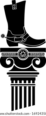 column and boot with spurs. stencils. raster version - stock photo