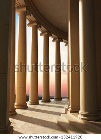 Column architecture with a sunset background - stock photo