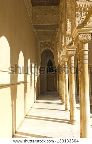Column capital detail. Courtyard of the Lions: Nasrid Palaces. Fourteenth century. Alhambra, Granada, Spain - stock photo