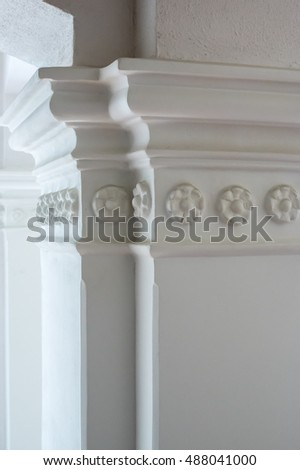 column-decorative architectural element, made of plaster