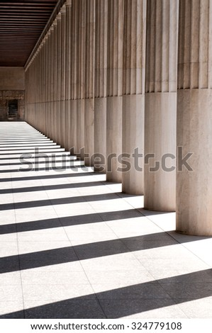 Column details of the famous Stoa of Attalos historical monument in the Ancient Agora below the Acropolis hill Athens Greece - stock photo