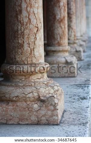 Column in an old church in Verona, Italy - stock photo