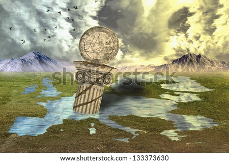 Column in the puddle - stock photo