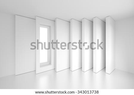 Column Interior Design. 3d White Modern Background - stock photo
