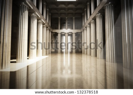 Column interior empty room, law or government background concept - stock photo