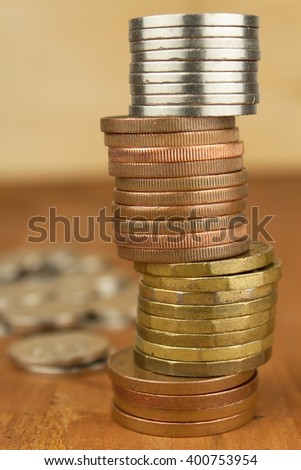 Column of metal coins. The concept of saving. Coins stacked on each other. Pyramid of coins. Rows of coins for finance and banking concept background.