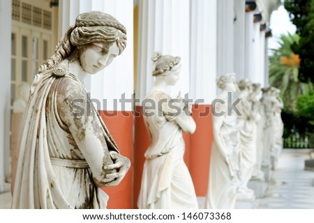 Column of Muses in Achillion palace, Corfu, Greece - stock photo