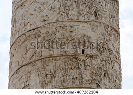 Column of Tajan . Roman triumphal column in Rome, Italy,  - stock photo