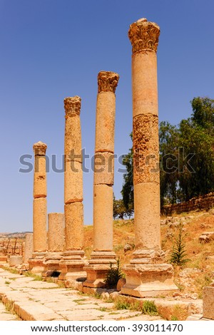 Column of the cardo maximus, Ancient Roman city of Gerasa, modern Jerash, Jordan
