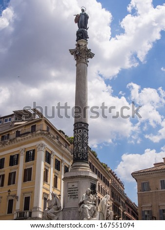 Column of the Immaculate Conception is a nineteenth-century monument in central Rome, located in what is called Piazza Mignanelli, but is only the south west extension of Piazza di Spagna. - stock photo