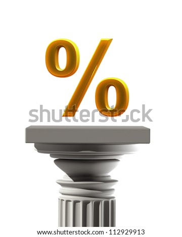 Column Pedestal with percent  symbol isolated on white background High resolution 3D