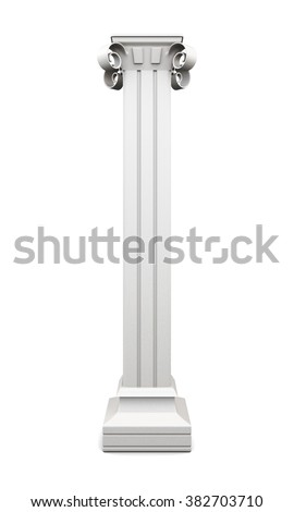 Column with pilasters isolated on white background. 3d rendering.