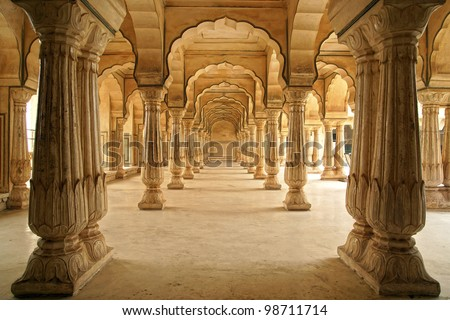 Columned hall of Amber fort. Jaipur, India - stock photo