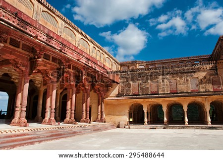 Columned hall of Amber fort. Jaipur, Rajasthan, India  - stock photo